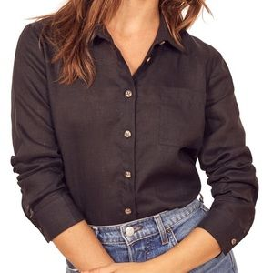 Reformation Linen Long Sleeve Button Down Top